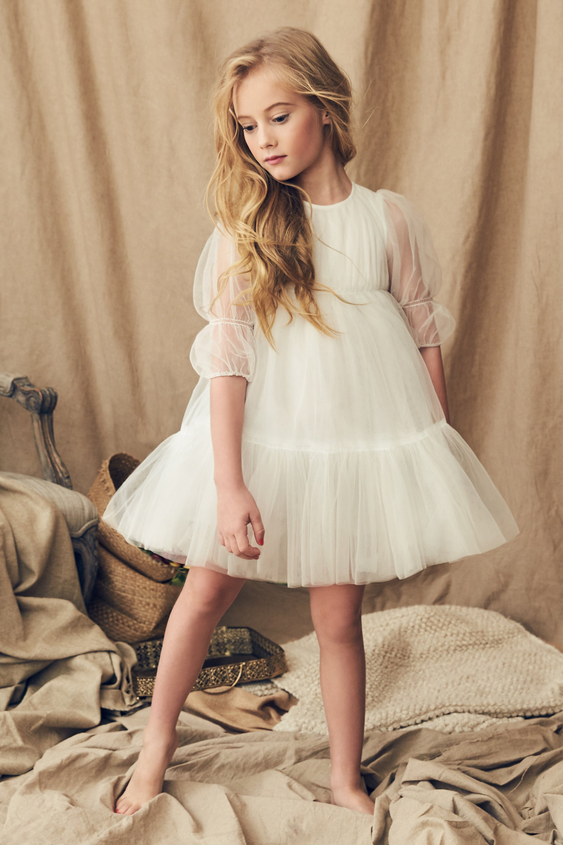 Nellystella Alice Girls Dress - Star White (Size 10 left)