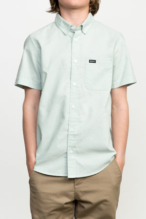 RVCA That'll Do Short Sleeve Oxford Boys Shirt - Green Haze