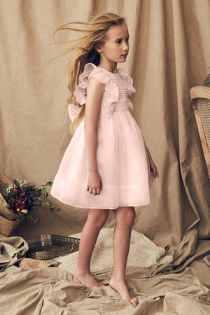 Nellystella Mae Silk Girls Dress - Petal Pink