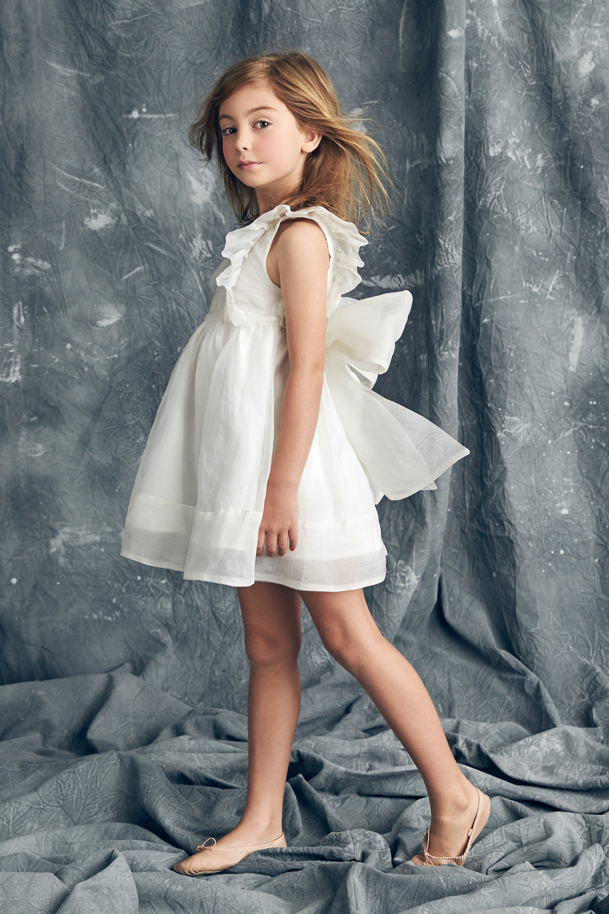Nellystella Mae Silk Girls Dress - Star White