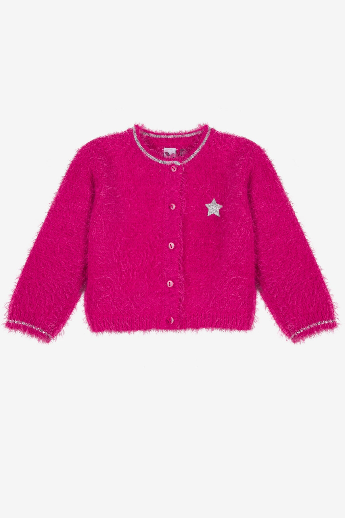 486253557 3pommes Fuchsia Star Baby Cardigan - Mini Ruby