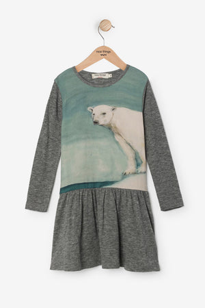 Nice Things Mini Polar Bear Girls Dress (Size 4 left)