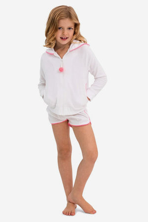 Sunuva Girls White and Pink Toweling Set