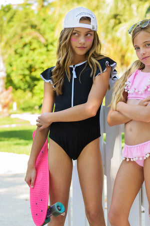 Snapper Rock Black Flutter Sleeve Girls Surfsuit