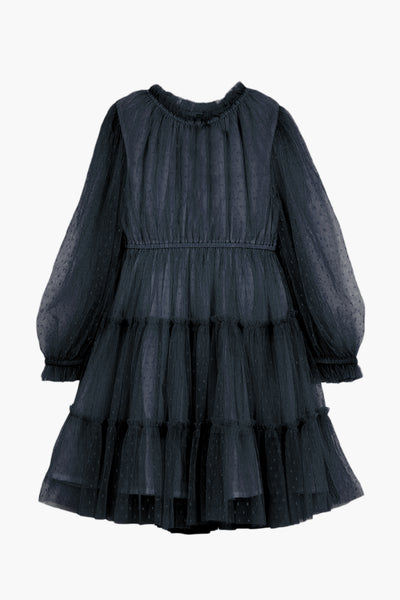Velveteen Corrine Girls Dress - Blackberry