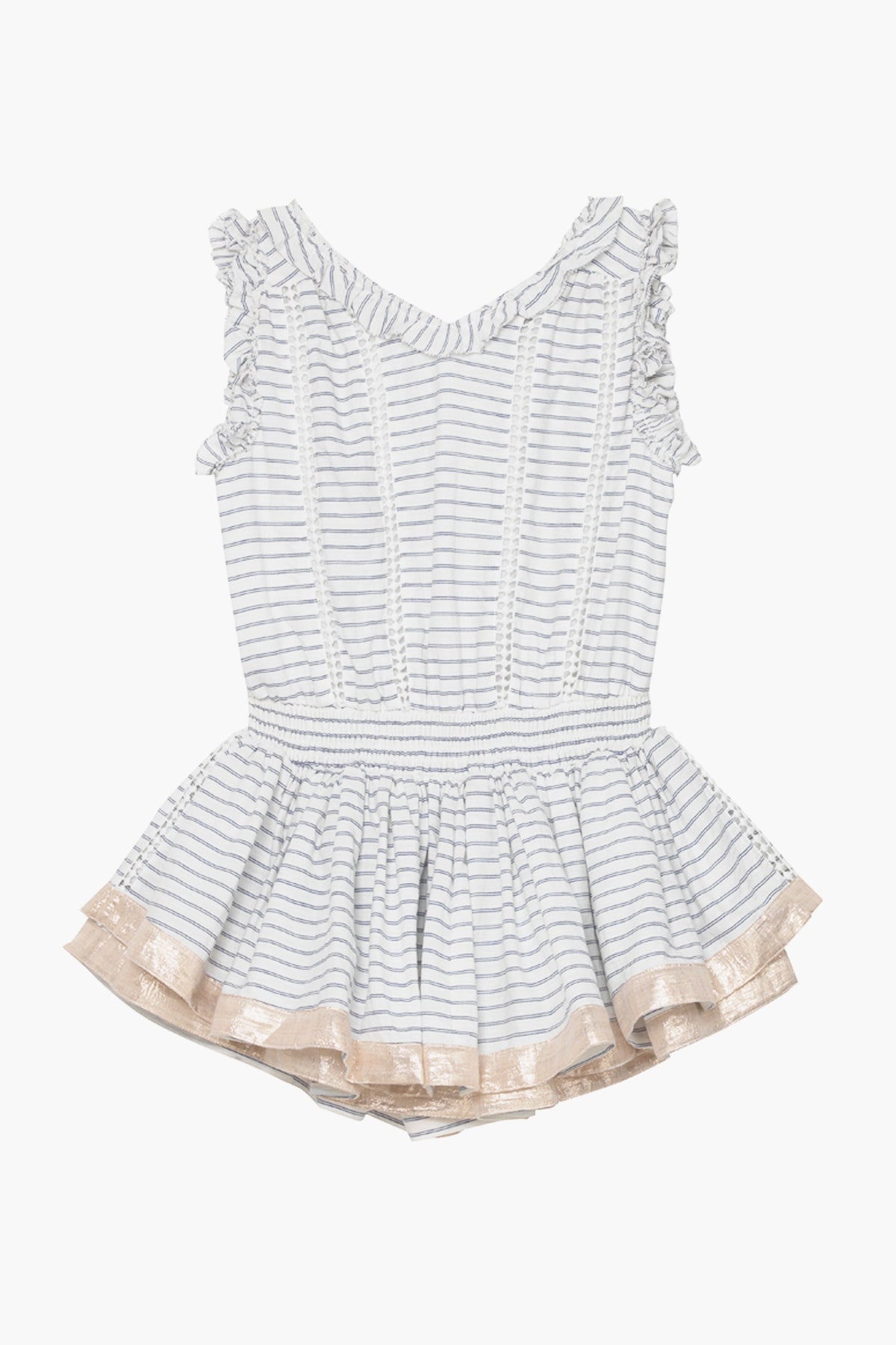Velveteen Britt Playsuit - Blue Cotton Stripe