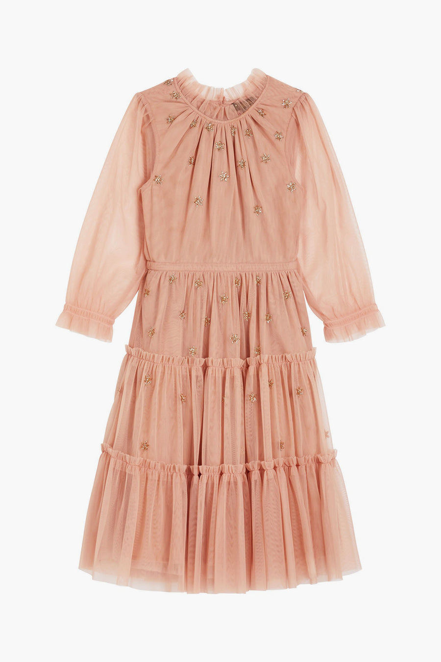 Velveteen Carolina Girls Dress - Misty Rose