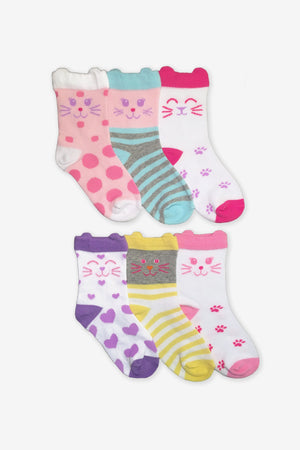 Jefferies Socks Cat Crew Socks 6-Pack