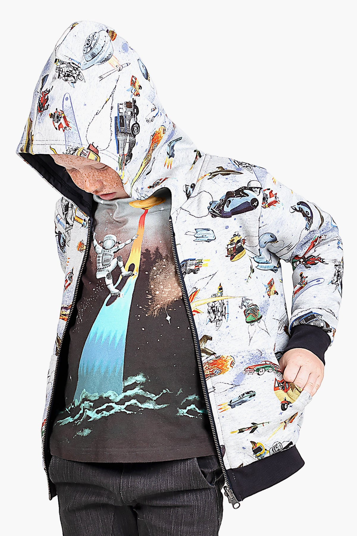 Paper Wings Future City Reversible Hoodie