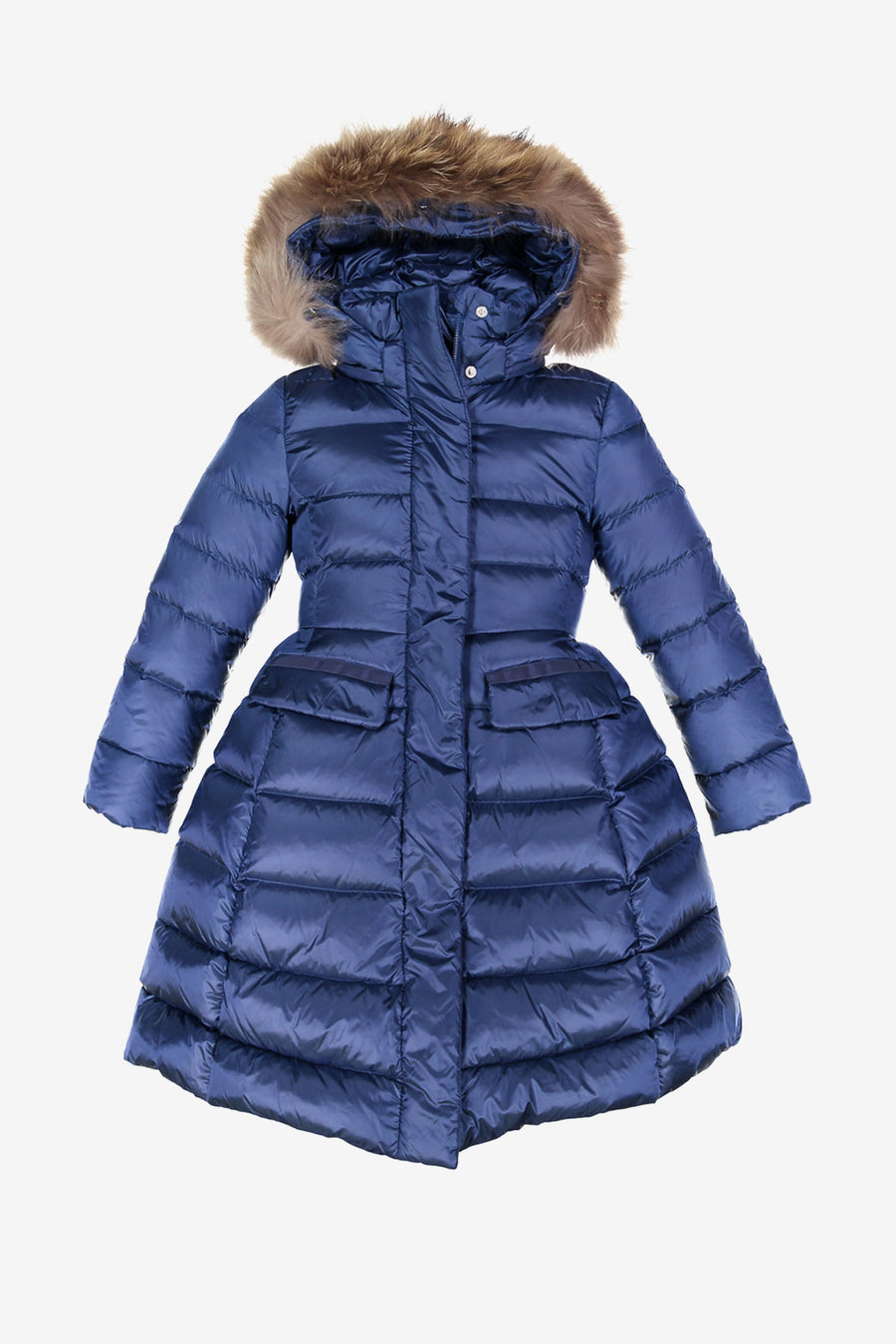 ADD Down Satin Hooded Down Coat - Cobalt