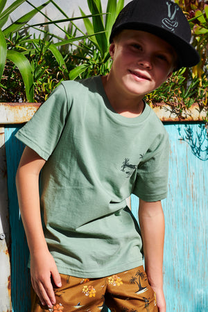 Munster Kids Croc Island Boys T-Shirt - Olive