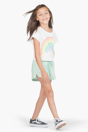 Paper Wings Mint Chambray Girls Shorts