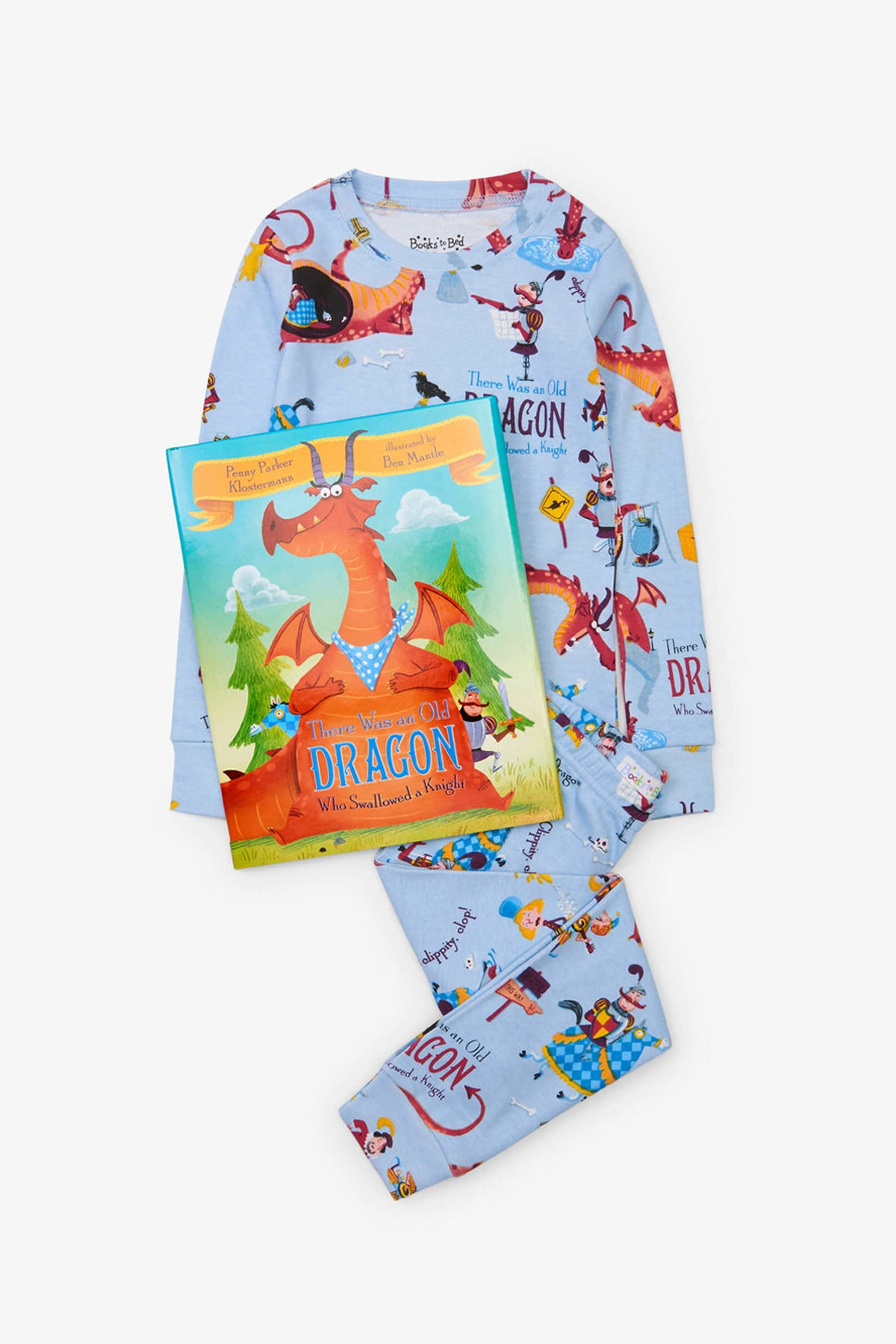 Books To Bed There Was An Old Dragon Who Swallowed A Knight Kids Pajamas and Book Set