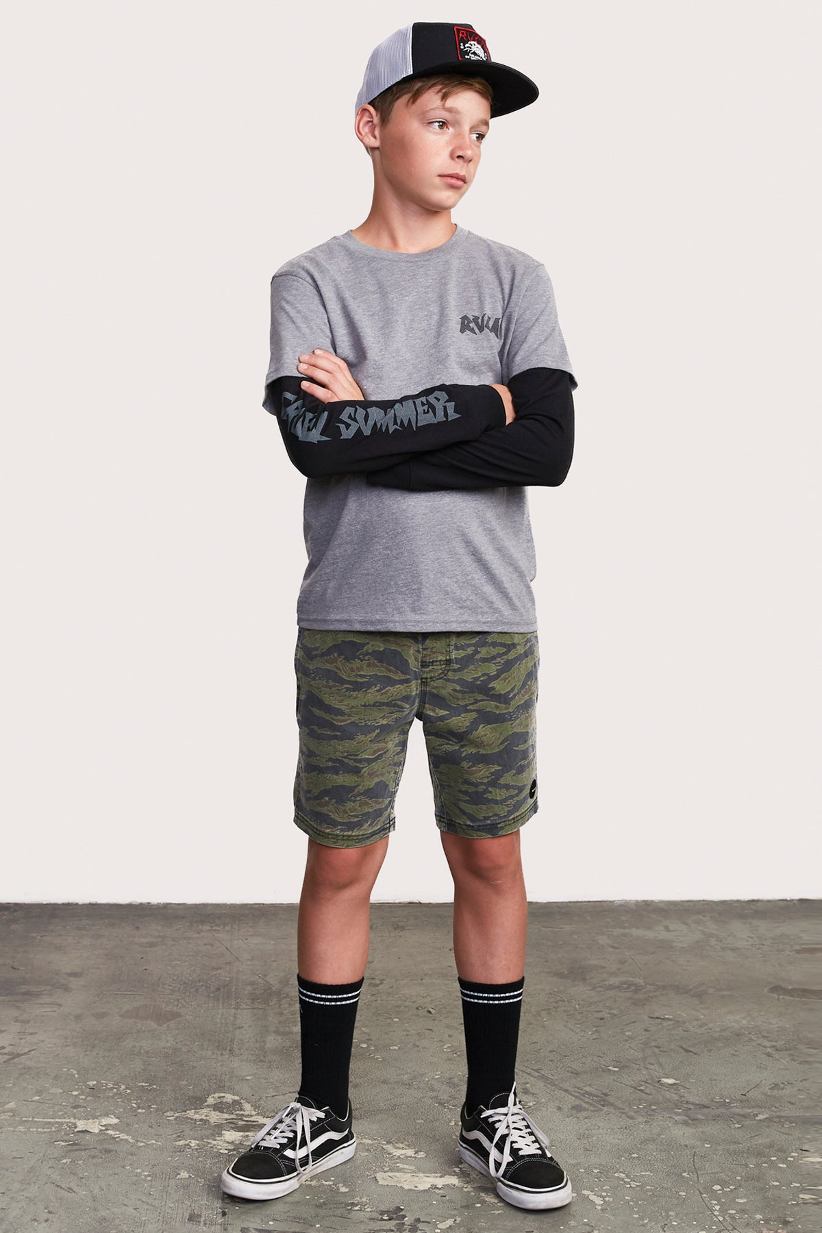 RVCA Escape Camo Boys Swim Boardshorts
