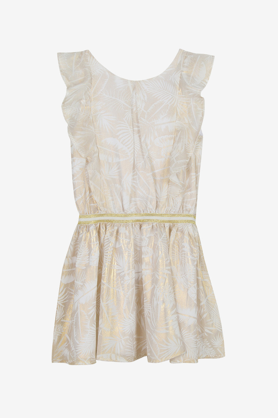 3pommes Gold Flutter Dress