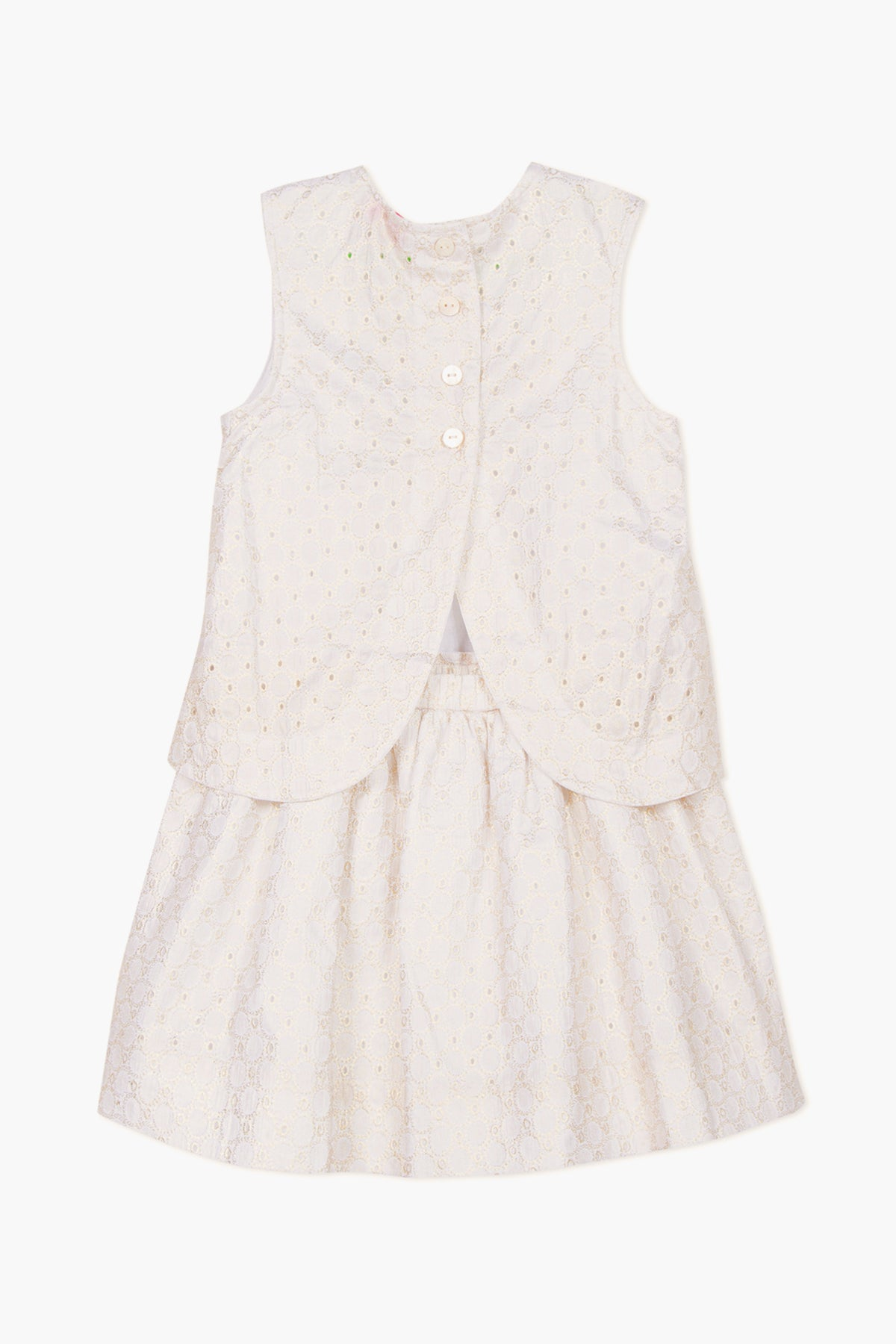 Lili Gaufrette Layered Gold Eyelet Girls Dress