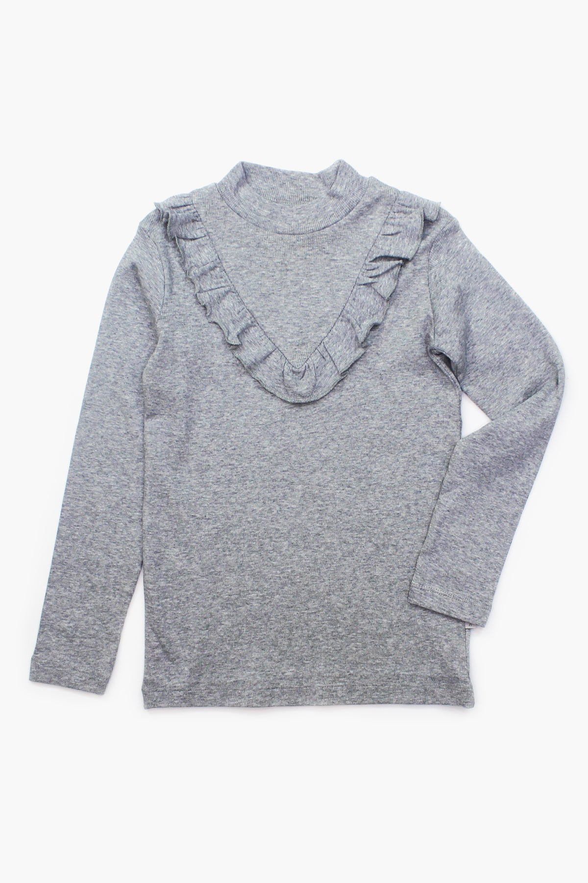 Wheat Ruffle Girls Shirt - Melange Grey