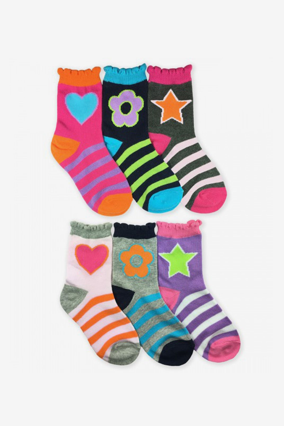 Jefferies Socks Stars/Daisies/Hearts Crew Socks 6-Pack