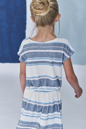 Jean Bourget Jade Striped Girls Dress