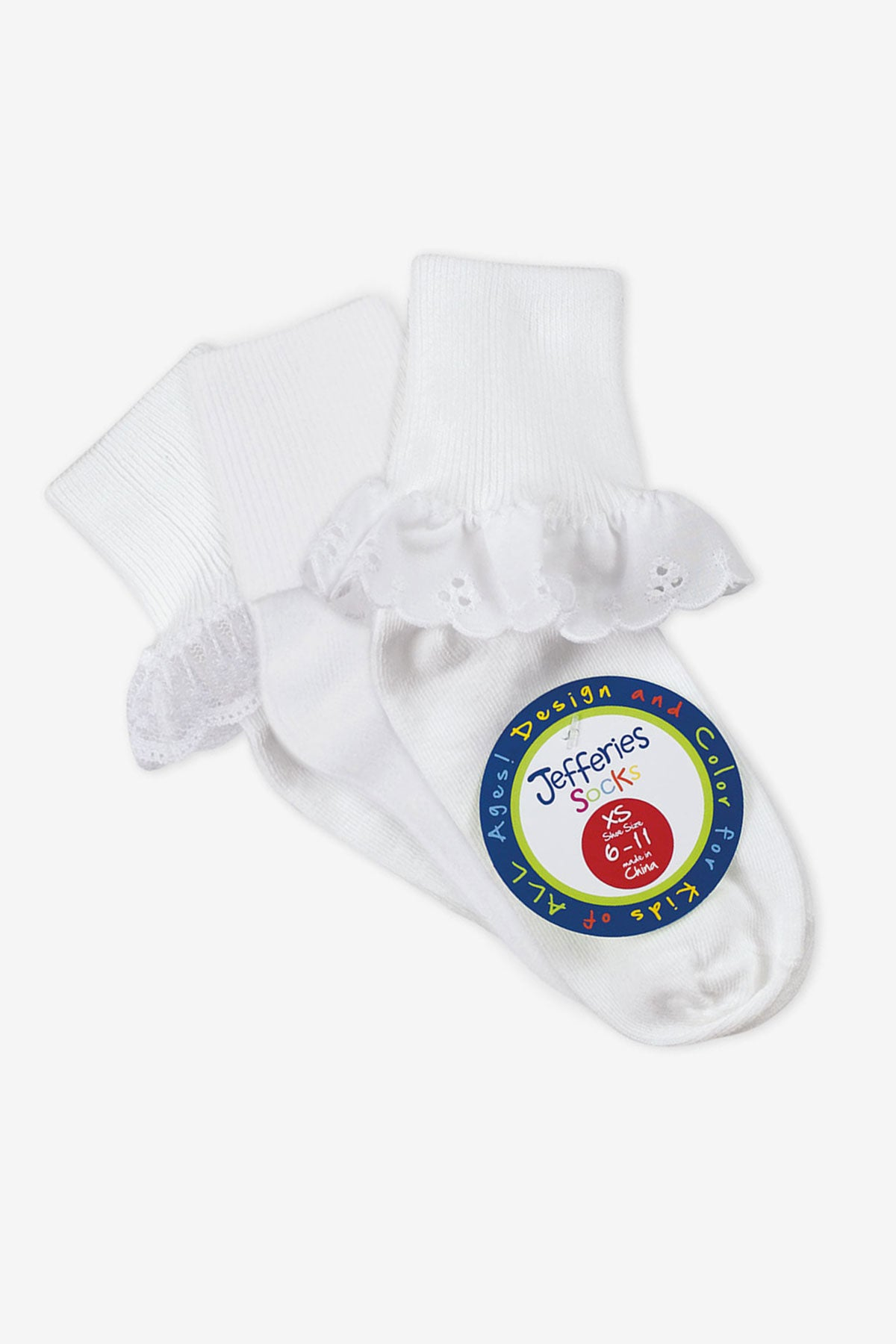 Jefferies Socks Eyelet/Turn Cuff/Lace Girls Socks 3-Pack - White