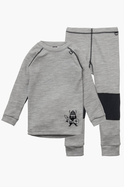 Helly Hansen Lifa Merino Kids Baselayer Set - Grey Melange