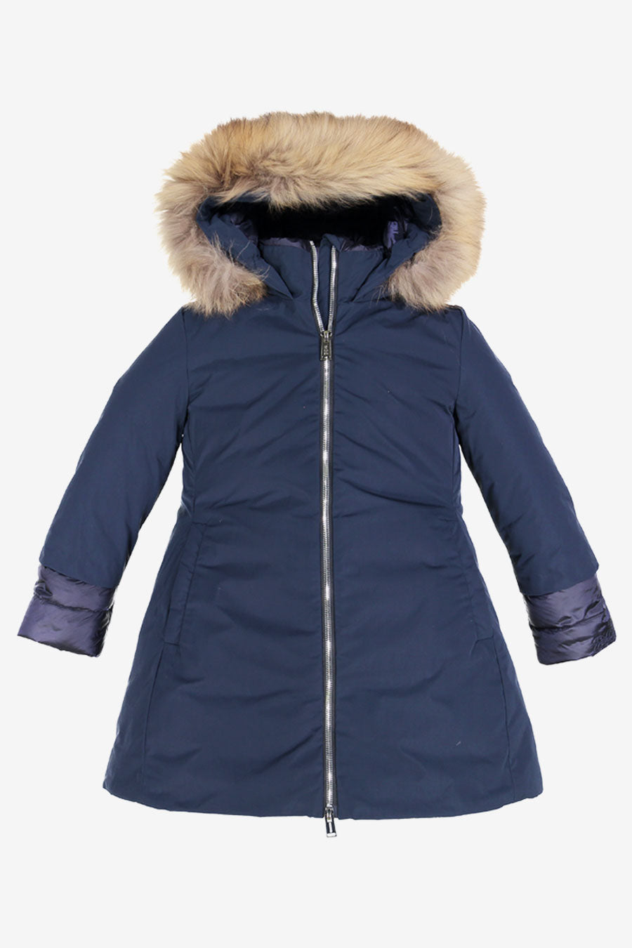 ADD Down Fur Hood Down Girls Coat - Navy
