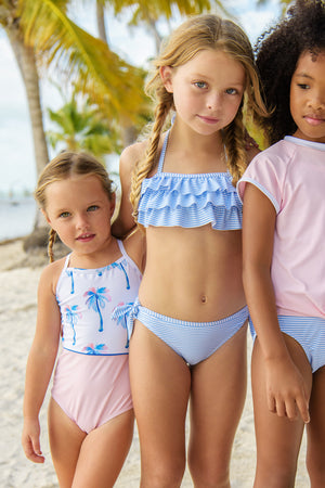 Snapper Rock Blue & White Stripe Bandeau Girls Bikini
