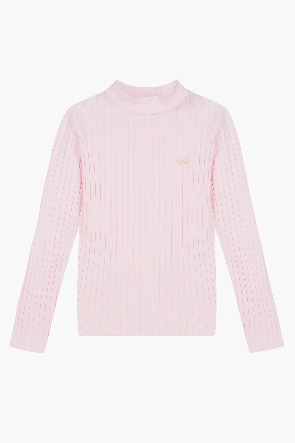 Lili Gaufrette Mock Neck Girls Shirt - Pink