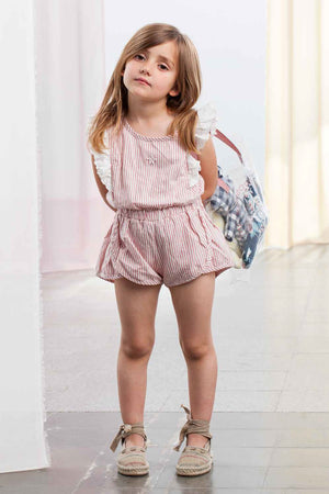 Tocoto Vintage Pink Striped Girls Shorts Romper