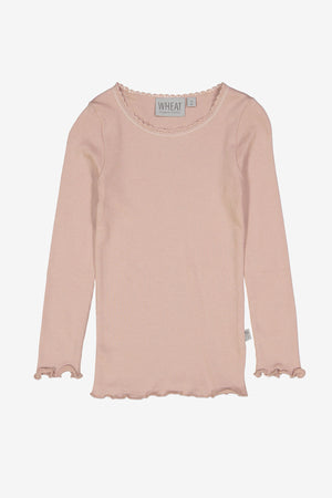 Wheat Long Sleeve Rib Tee - Rose