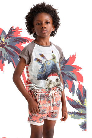 Paper Wings Red Jungle Rhino Boys Shorts