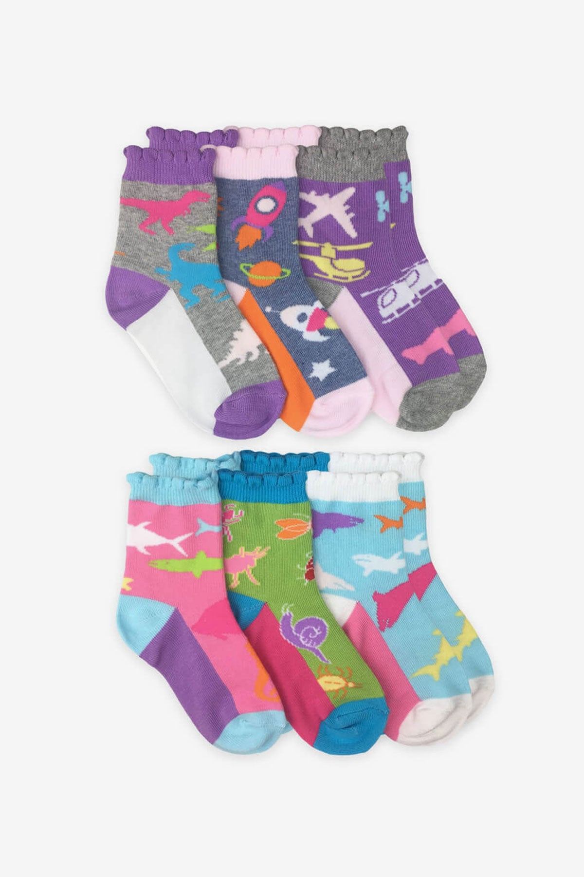 Jefferies Socks Girls Rock Crew Socks 6-Pack