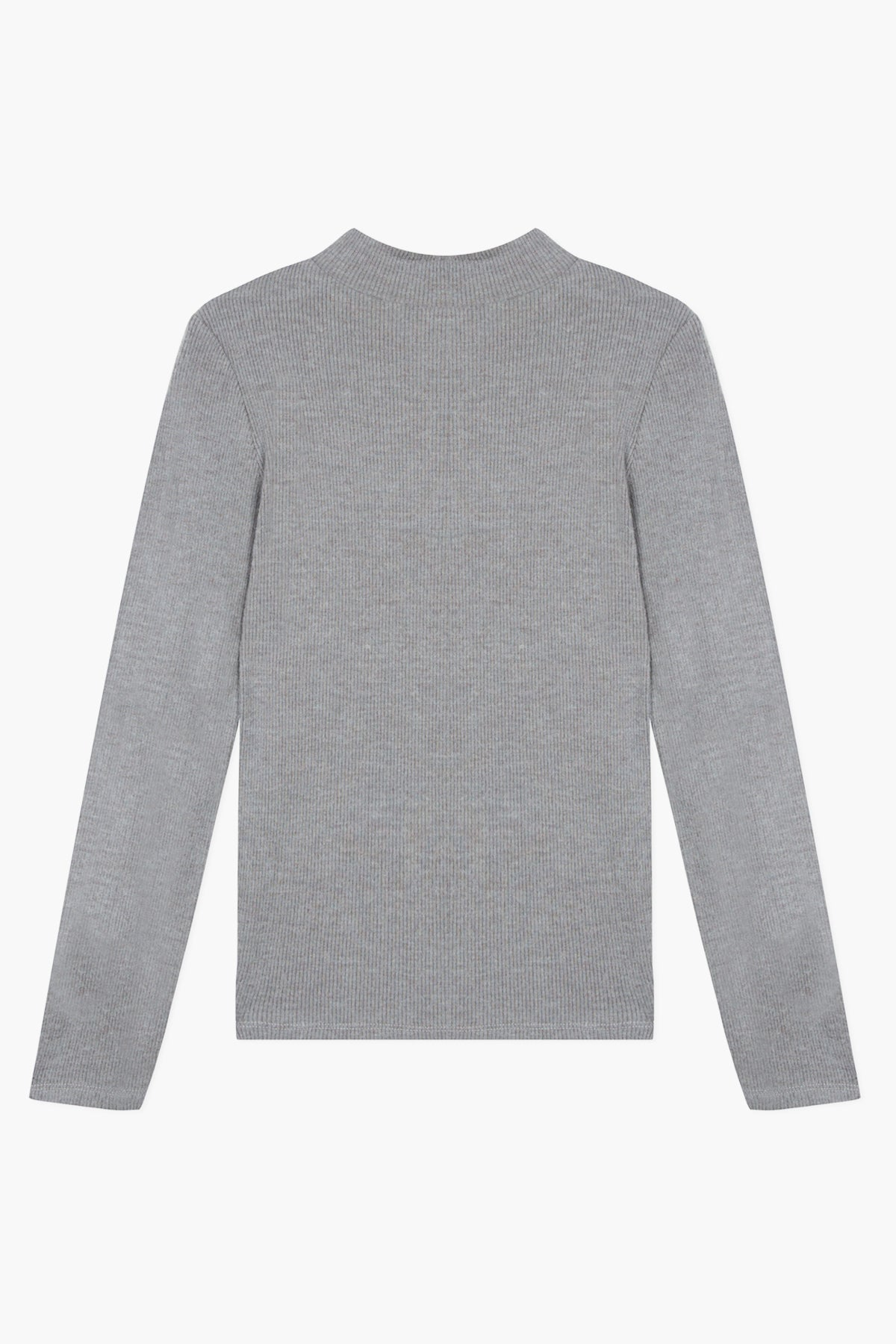 Lili Gaufrette Soft Mock Neck Top - Grey
