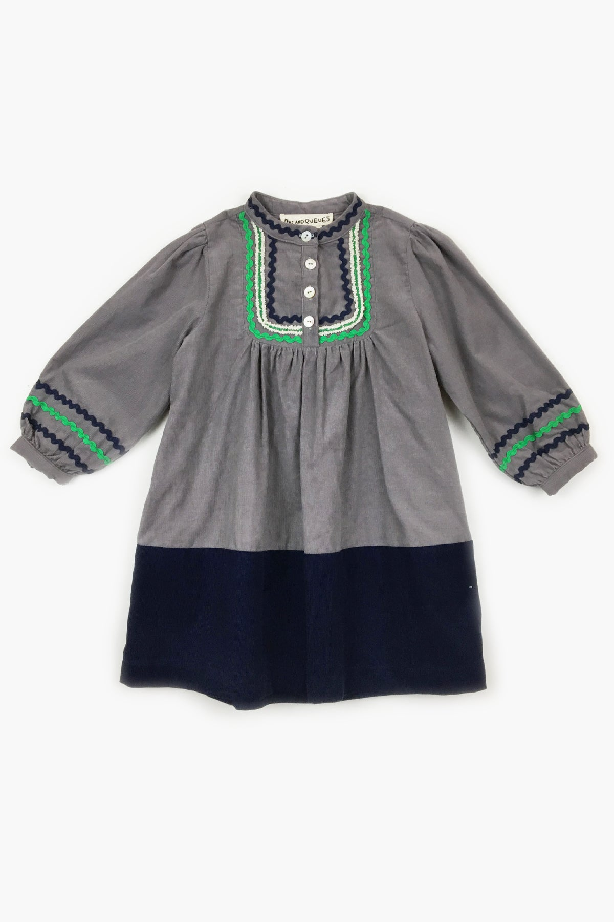 Peas and Queues Sparrow Girls Dress - Grey