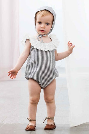 Tocoto Vintage Baby Girl Striped Romper With Bonnet