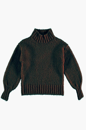 Tocoto Vintage Turtleneck Girls Sweater - Dark Brown