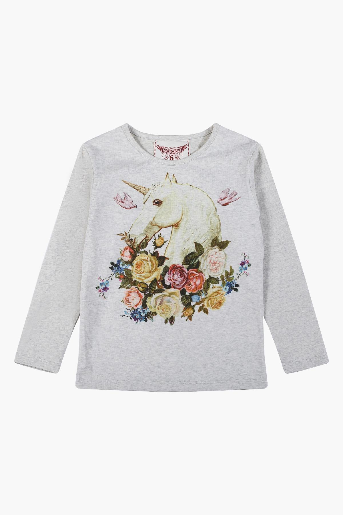 Paper Wings Rose Unicorn Girls Tee