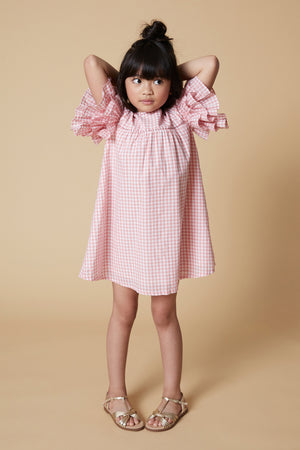Velveteen Ginny Girls Dress - Coral Gingham