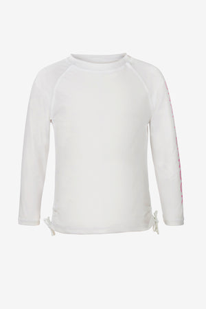 White Long-Sleeve Rash Guard Top