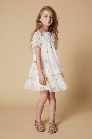 Velveteen Laylani Girls Dress - Putty