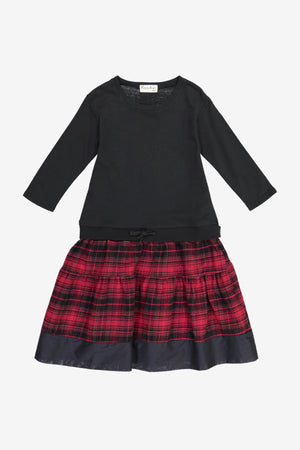 Vierra Rose Mona Sweatshirt Combo Dress - Red Plaid