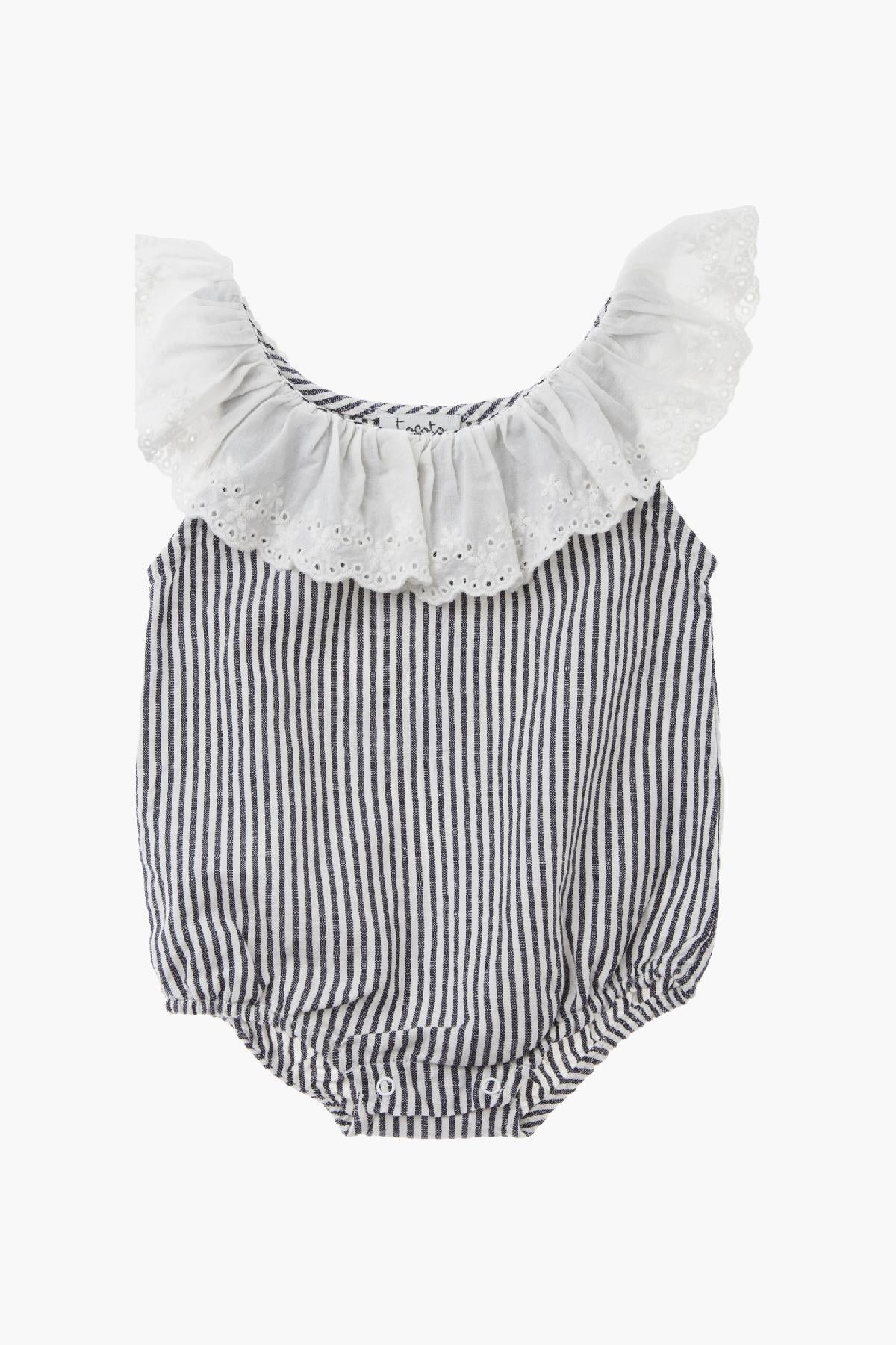 1cec14ba210 Tocoto Vintage Baby Girl Striped Romper With Bonnet - Mini Ruby