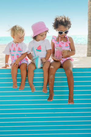 Watermelon Ruffle Baby Girls Swim Set
