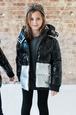 Vierra Rose Chelsea Colorblock Puffer - Black/Silver