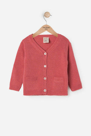 Nice Things Mini Baby Girl Cardigan - Berry