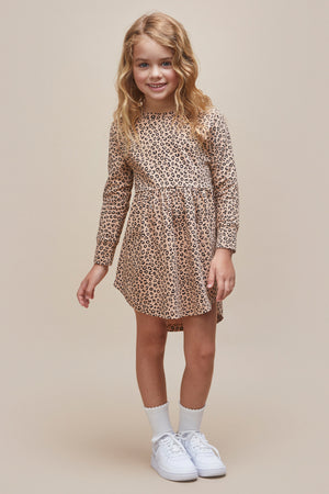 Huxbaby Animal Long Sleeve Swirl Girls Dress