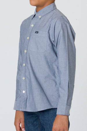 RVCA That'll Do Oxford Long Sleeve Boys Shirt - Distant Blue