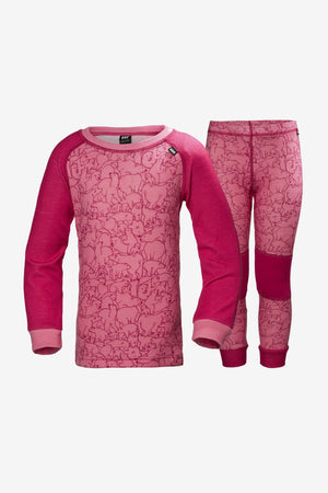 Helly Hansen Girls Base Layer Set - Bright Rose (Size 3 left)