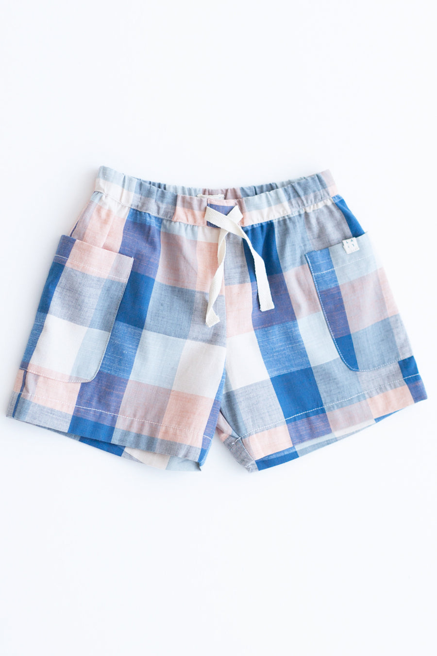 Lali Kids Begonia Button Girls Shorts - Blue Chex
