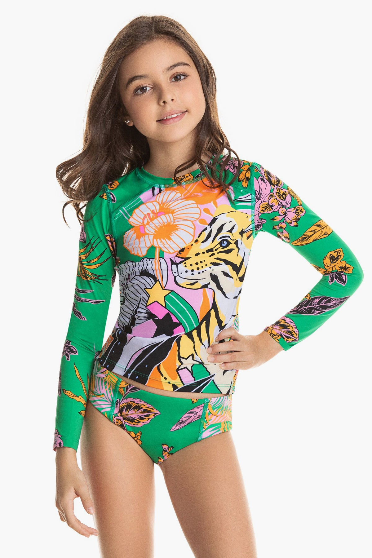 Maaji Bengala Cat Rash Guard Girls Swim Set